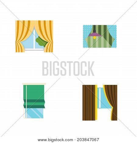 Flat Icon Window Set Of Glass Frame, Curtain, Balcony And Other Vector Objects