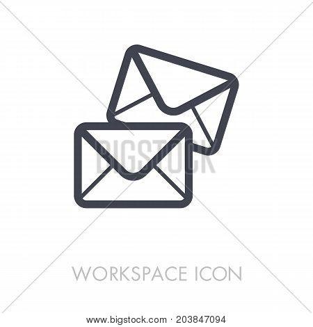 Mail outline icon. Workspace sign. Graph symbol for your web site design logo app UI. Vector illustration EPS10.