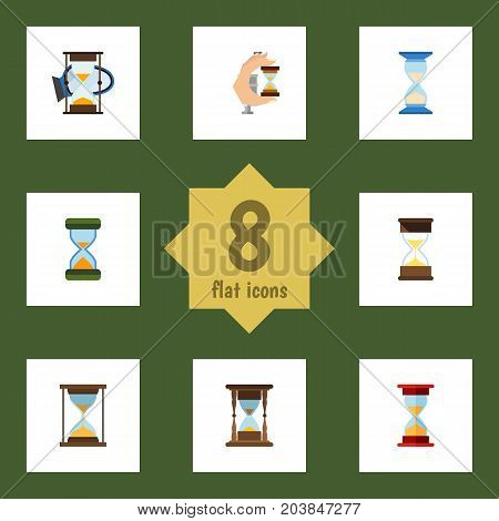 Flat Icon Timer Set Of Loading, Waiting, Sand Timer Vector Objects