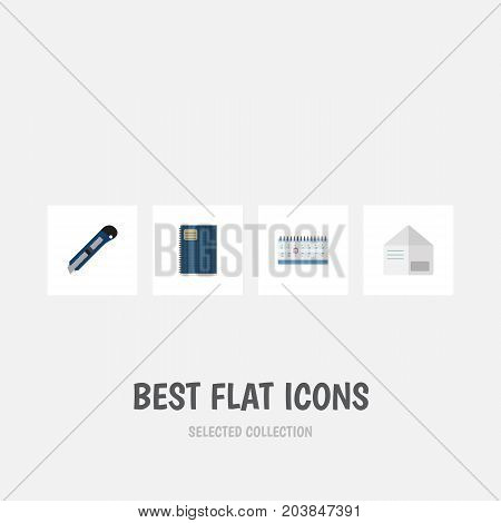 Flat Icon Tool Set Of Date Block, Knife, Letter And Other Vector Objects