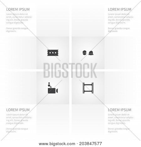 Icon Film Set Of Man, Film, Camera And Other Vector Objects
