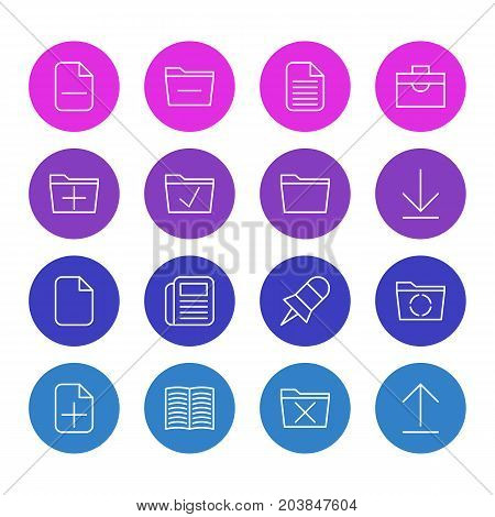 Editable Pack Of Add, Loading, Install And Other Elements.  Vector Illustration Of 16 Office Icons.