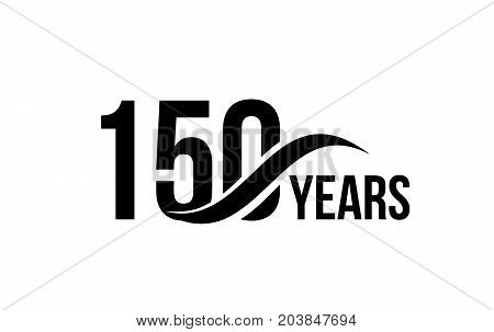 Vector isolated anniversary date logo template for business company birthday icon design element. One hundred fifty abstract sign. Happy jubilee, 150 years. 150th year