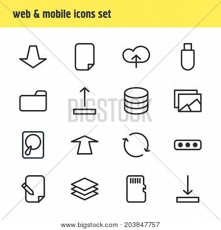 Editable Pack Of Downward, Flash Drive, Upward And Other Elements.  Vector Illustration Of 16 Archive Icons.