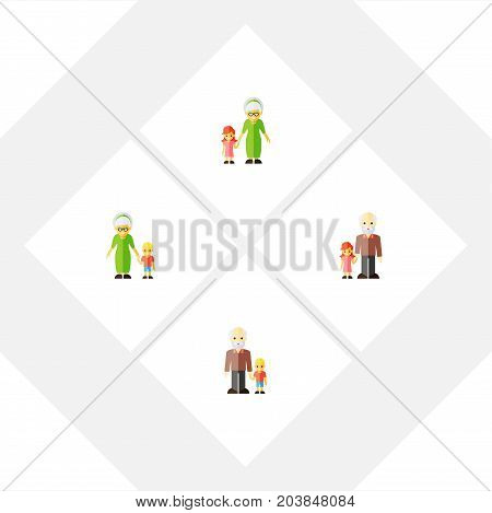 Flat Icon People Set Of Grandchild, Grandson, Grandpa Vector Objects