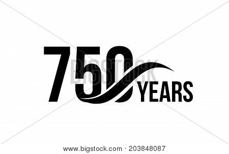 Vector isolated anniversary date logo template for business company birthday icon design element. Seven hundred fifty abstract sign. Happy jubilee, 750 years. 750th year