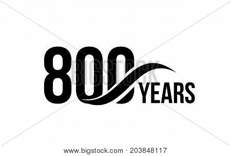 Vector isolated anniversary date logo template for business company birthday icon design element. Eight hundred abstract sign. Happy jubilee, 800 years. 800th year