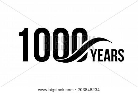 Vector isolated anniversary date logo template for business company birthday icon design element. One thousand abstract sign. Happy jubilee, 1000 years. 1000th year