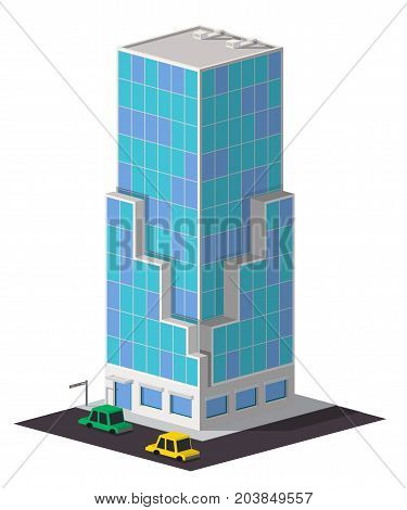 Low poly business centre building. Vector isometric scyscraper
