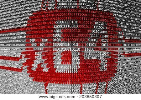 64 bit CPU presented in the form of binary code, 3D illustration