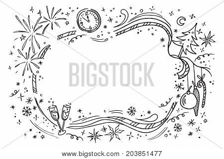 Cartoon doodles hand drawn new year illustration. Isolated vector template