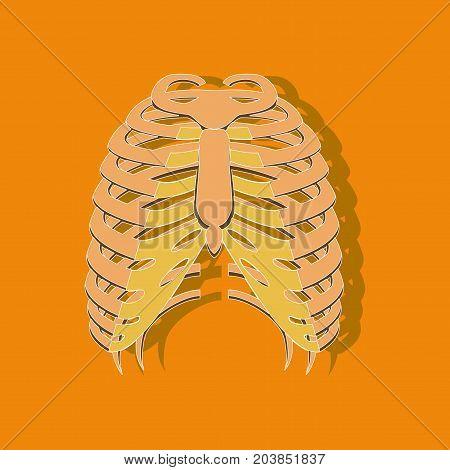 chest thorax paper sticker on stylish background