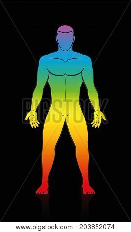 Male body - rainbow colored human silhouette in meditating upright standing yoga position on black background.