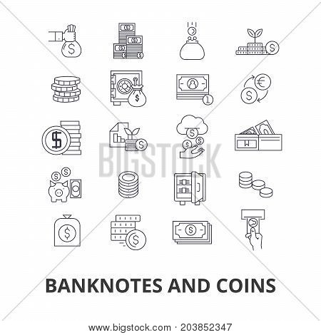 Banknotes and coins, money, euro, guilloche, bank, dollar, note, coins, bill line icons. Editable strokes. Flat design vector illustration symbol concept. Linear signs isolated on background