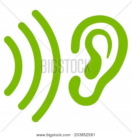 Listen vector icon. Flat eco green symbol. Pictogram is isolated on a white background. Designed for web and software interfaces.