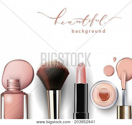 Cosmetics and fashion background with make up artist objects: lipstick, nail Polish. With place for your text .Template Vector.