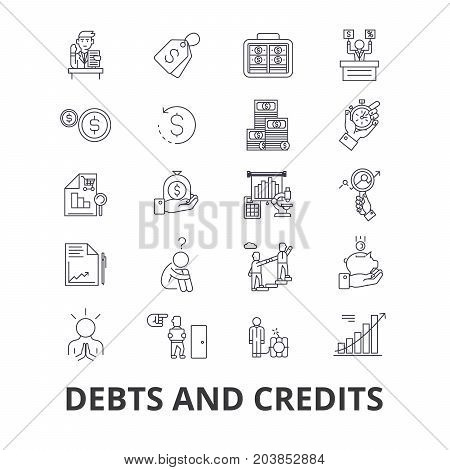 Debts and credits, money, bankruptcy, bill, wealth, finance, financial collector line icons. Editable strokes. Flat design vector illustration symbol concept. Linear signs isolated on background