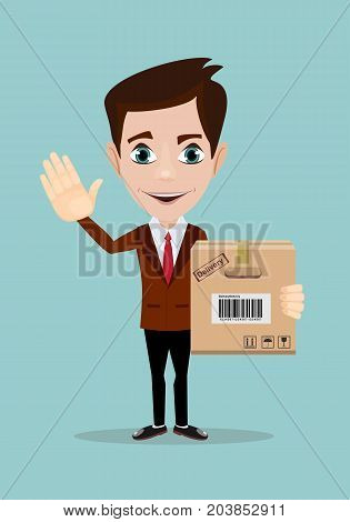 delivery service, mail, logistics, people and shipping concept - happy man with parcel boxes