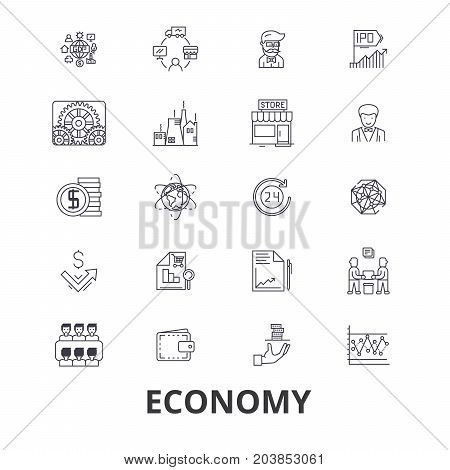 Economy, economics, money, business, finance, global, financial, bank, recession line icons. Editable strokes. Flat design vector illustration symbol concept. Linear signs isolated on background
