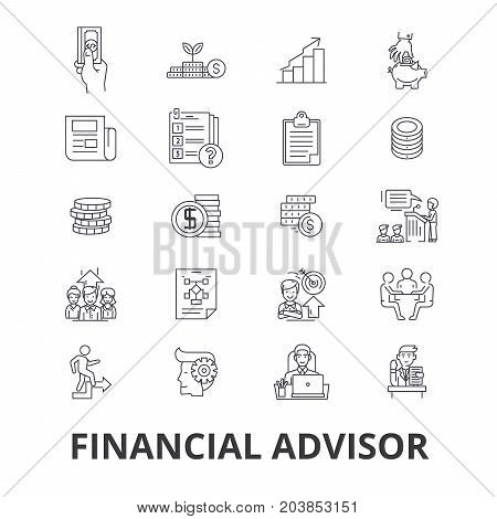 Financial advisor, planning, advisor, planner, investment, accountant, business line icons. Editable strokes. Flat design vector illustration symbol concept. Linear signs isolated on background