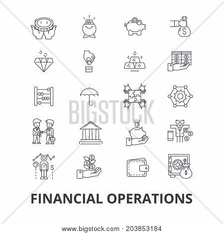 Financial operations, finance, planning, services, money, accounting, investment line icons. Editable strokes. Flat design vector illustration symbol concept. Linear signs isolated on background