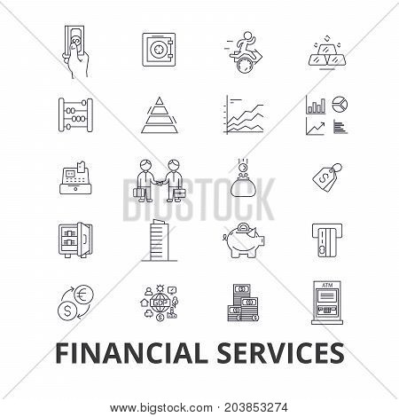 Financial services, operations, finance, planning, money, accounting, investment line icons. Editable strokes. Flat design vector illustration symbol concept. Linear signs isolated on background