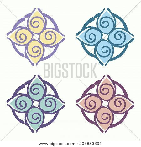 Set of vector logo templates for yoga club massage parlor Ayurvedic club symbolizing harmony with nature.