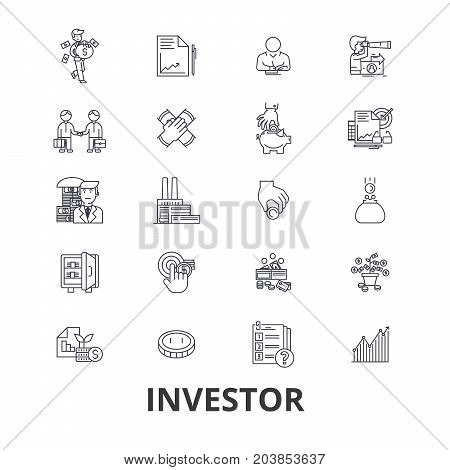 Investor, investment, business, stock market, finance, money, business man, bank line icons. Editable strokes. Flat design vector illustration symbol concept. Linear signs isolated on background