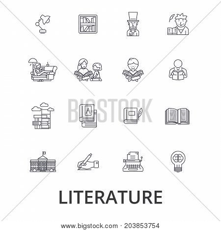 Literature, book, writing, library, music, reading, english, letter, history line icons. Editable strokes. Flat design vector illustration symbol concept. Linear signs isolated on background