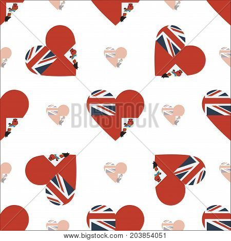 Bermuda Flag Patriotic Seamless Pattern. National Flag In The Shape Of Heart. Vector Illustration.