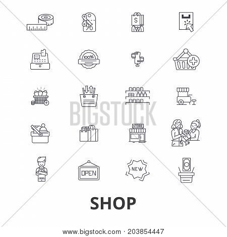 Shop, shopping bag, shopping mall, store, shopping cart, sale, shopping center line icons. Editable strokes. Flat design vector illustration symbol concept. Linear signs isolated on background