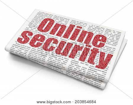 Protection concept: Pixelated red text Online Security on Newspaper background, 3D rendering