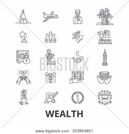 Wealth, banking, money, rich, luxury, success, prosperity, investment line icons. Editable strokes. Flat design vector illustration symbol concept. Linear signs isolated on background