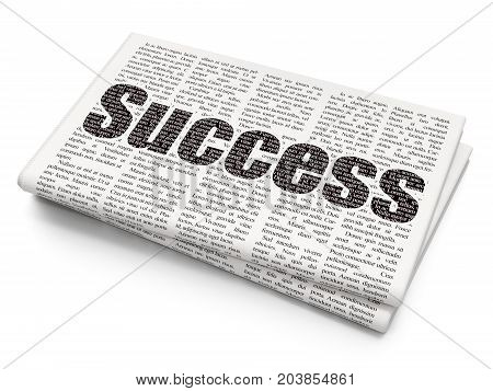Finance concept: Pixelated black text Success on Newspaper background, 3D rendering