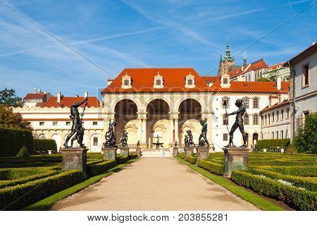 Wallenstein palace, the seat of Senate of Czech Republic, on sunny day. View from Wallenstein garden, Lesser Town, Prague, Czech Republic