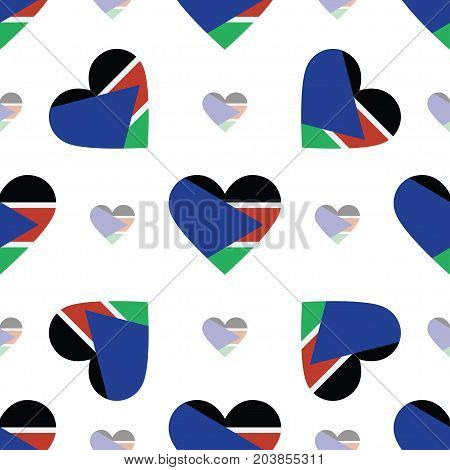South Sudan Flag Heart Seamless Pattern. Patriotic South Sudan Flag Background. Country Flag In The