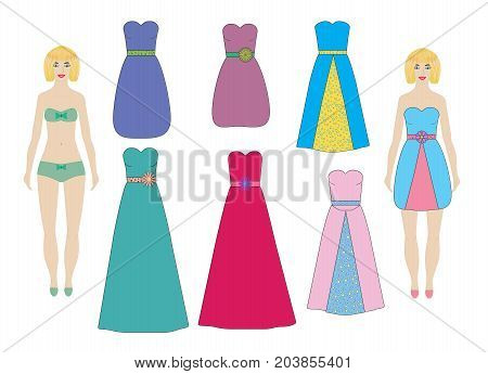 Evening and cocktail dresses for paper dolls (girl woman) set vector