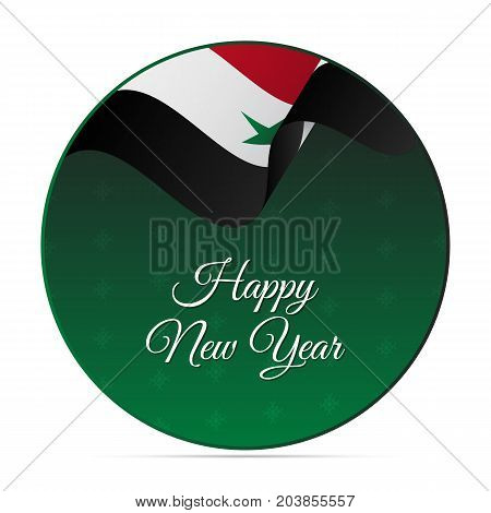 Happy New Year banner or sticker. Syria waving flag. Snowflakes background. Vector illustration.