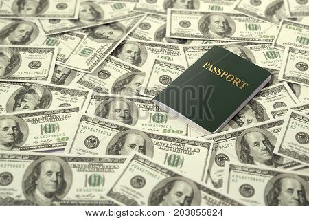 travel and currency concept. passport on dollars banknote pile as background.