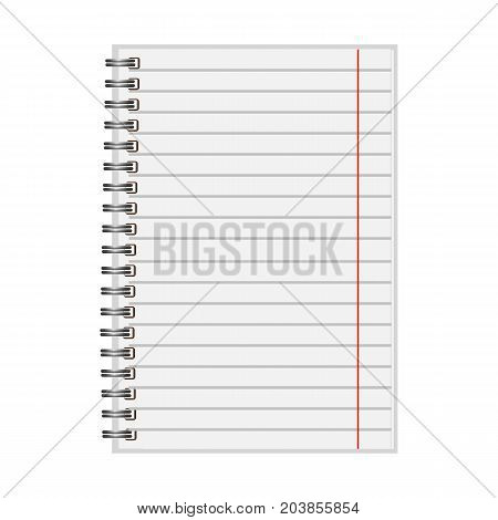 Blank realistic closed spiral notebook isolated on white background. Vertical copybook. Template mock up of organizer or diary. Horizontal lined notebook.Vector.