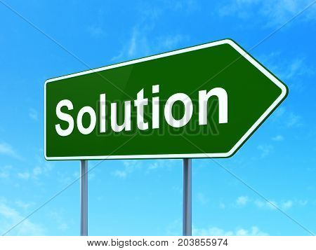 Finance concept: Solution on green road highway sign, clear blue sky background, 3D rendering