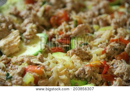 Fresh vegetables ragout cooking, green whith meat