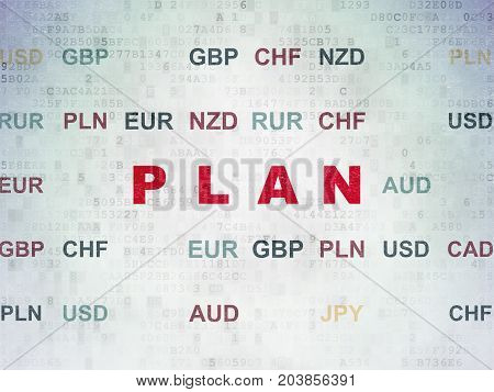 Finance concept: Painted red text Plan on Digital Data Paper background with Currency