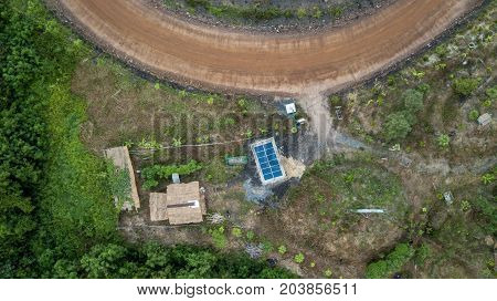 Aerieal View Solar Cell Building Rooftop Small House Countryside Use for Electricity in the house