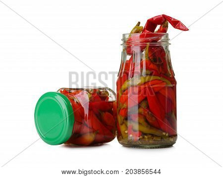 Chilli pepper on white background. Assorted colorful varieties of hot and sweet peppers. Mexican hot chili peppers colorful mix. Dried red or cayenne pepper chilli isolated on white background cutout.