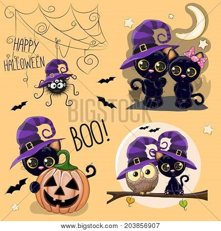 Set of Cute Halloween illustrations with owl black cat and spider