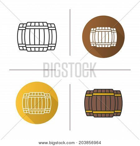 Alcohol wooden barrels icon. Flat design, linear and color styles. Whiskey or rum barrels. Isolated vector illustrations