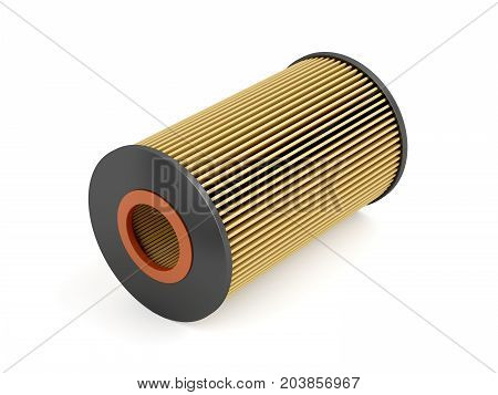 Automotive oil filter cartridge on white background, 3D illustration