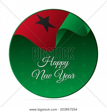 Happy New Year banner or sticker. Guinea-Bissau waving flag. Snowflakes background. Vector illustration.