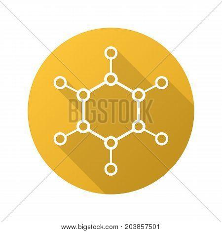 Molecule flat linear long shadow icon. Molecular structure model. Vector line symbol
